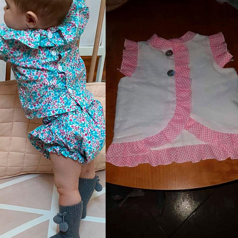 Camisa con pantalón o vestido para bebe